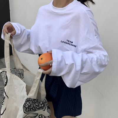 2018新款chic早秋季慵懒上衣服港味bf风韩版宽松长袖t恤女ulzzang