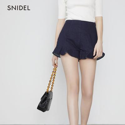 SNIDEL2019春夏新品 甜美荷叶边木耳边超短牛仔短裤SWFP191152