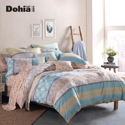 多喜爱家纺全棉印花床上用品四件套简约时尚套件1.8米艾伯特
