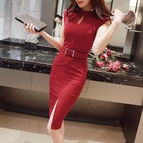 2018夏季新款时尚大码女装OL职业显气质高腰包臀遮肚显瘦连衣裙