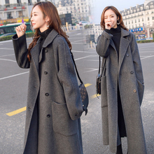 Woolen coat female long section 2018 winter new Hepburn popular long section over the knee thick gray woolen coat