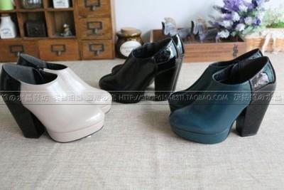 新款漆皮高跟单鞋日系时尚漆皮拼色拉链欧美风复古女鞋防水台单鞋