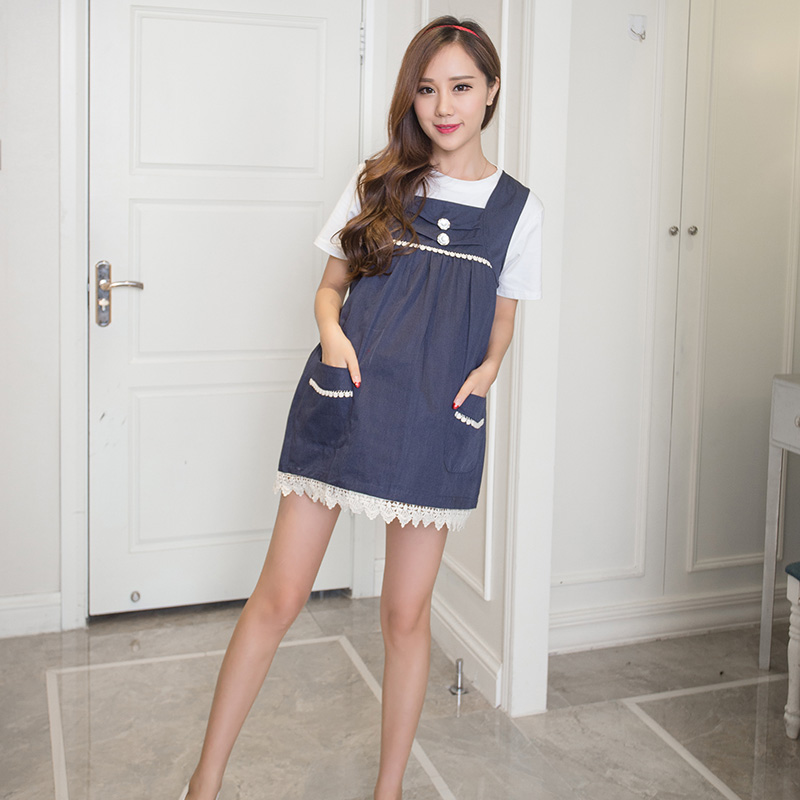 可爱妈咪围裙防辐射服 孕妇围裙口袋设计新款闪亮纽扣孕妇裙