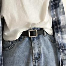 布丁?#25302;?#22825;韩版新款皮带chic无孔复古风长方形银色哑光扣头女腰带