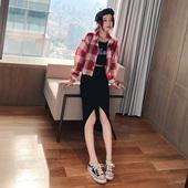 韩版 小众翻领长袖 洋气衬衣百搭小个子短外套 格子衬衫 女2019夏新款图片