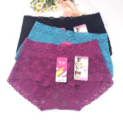 4条价彩田女内裤 舒适性感蕾丝竹炭纤维中腰30286高腰大码短裤