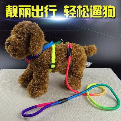 包邮宠物狗狗牵引绳中小型犬萨摩耶比熊贵宾泰迪七彩胸背带狗链子