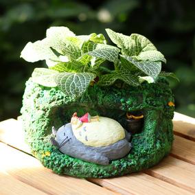 吉卜力Totoro宫崎骏 电影真实场景 树洞睡觉龙猫小米公仔摆件花盆