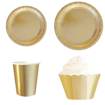 GOLD FOIL SOLID PAPER PLATES CUPS STRAWS CUPCAKE WRAPPERS