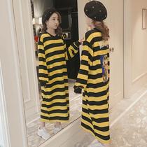 黄黑条纹宽松长款过膝长裙贴布长袖睡裙大码打底连衣裙韩版女装春