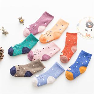 威挺秋冬季新款卡通小熊男女童仿兔毛保暖加厚毛圈袜小宝宝厚袜子