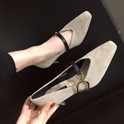 复古名媛尖头高跟鞋女电镀粗跟单鞋女韩版方扣一字扣玛丽珍女鞋潮