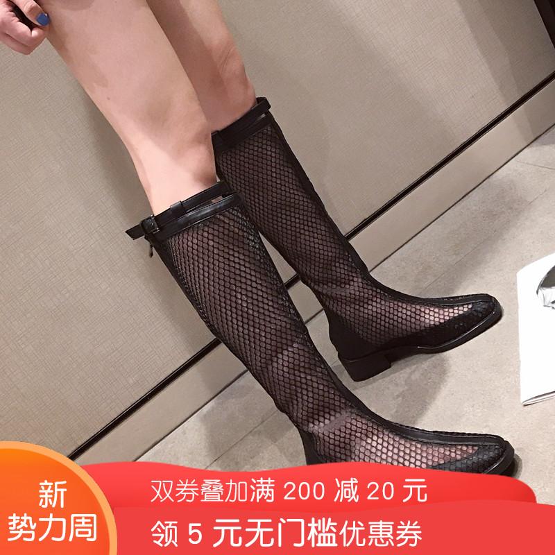 欧美风女鞋2019夏季新款时尚网面透气粗跟后拉链镂空方跟长筒凉靴