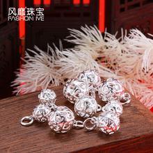 玲珑球吊坠925银DIY配件镂空爱心红绳挂件雕花项坠纯银球挂件