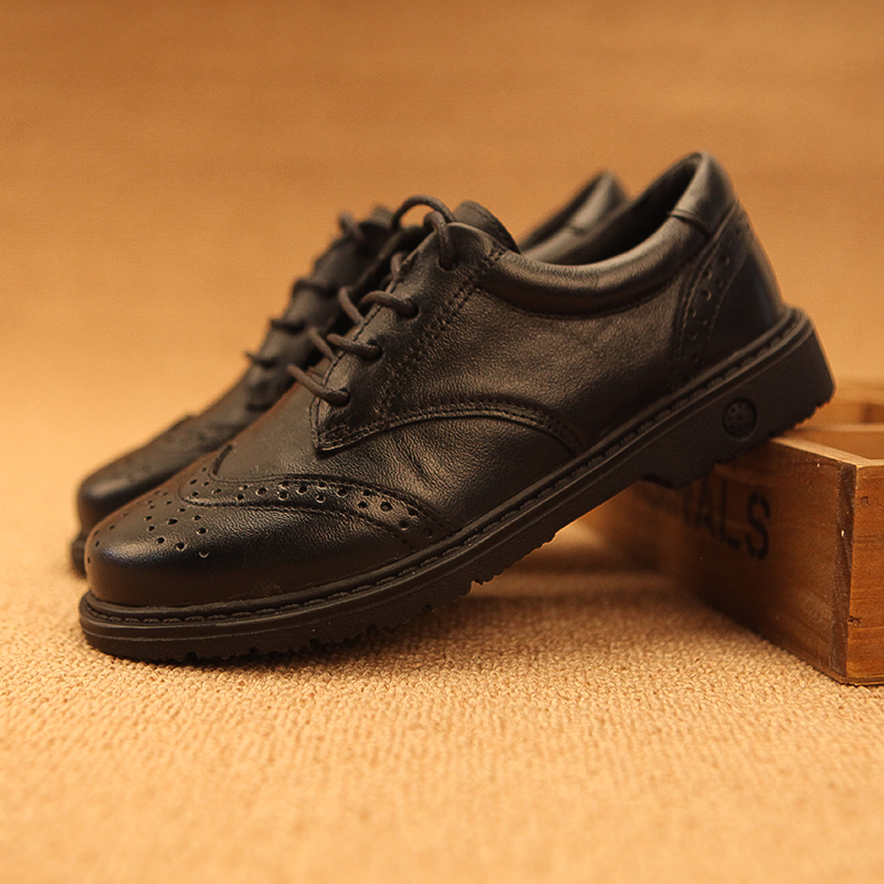 男童皮鞋黑色校园英伦儿童春秋加绒软底真皮休闲中大童学生演出鞋
