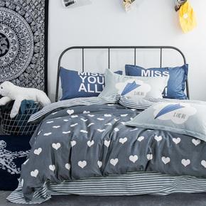 全棉四件套斜纹卡通条格被套床单枕套1米5 1米8床上用品