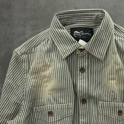 极蓝OS 英国做旧砂洗复古厚实粗犷牛仔潮男装修身长袖条纹衬衫
