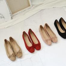 大码 婚鞋 新款 驼色大红蝴蝶结圆头浅口芭蕾平底单鞋 甜美韩版 特价