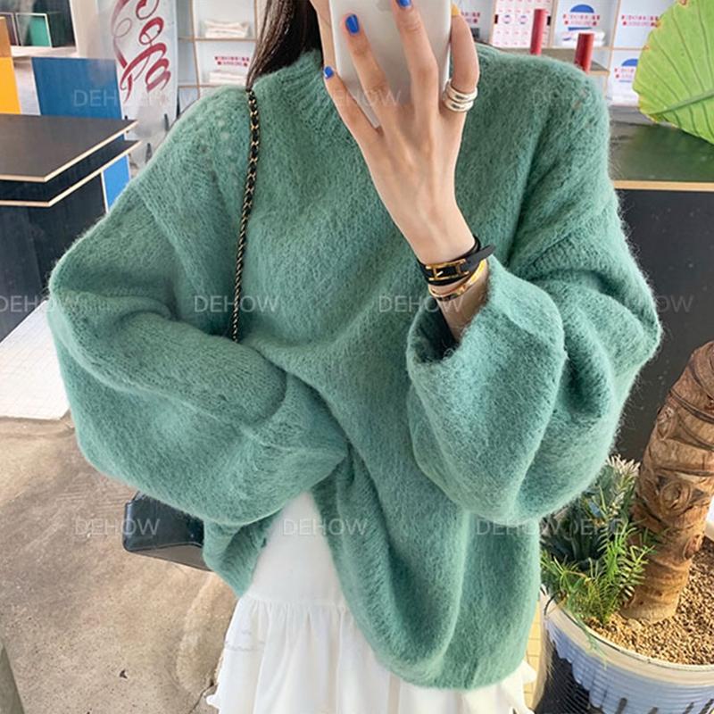 美兔几 韩国代购东大门新款正品 秋装宽松百搭灯笼袖针织衫毛衣