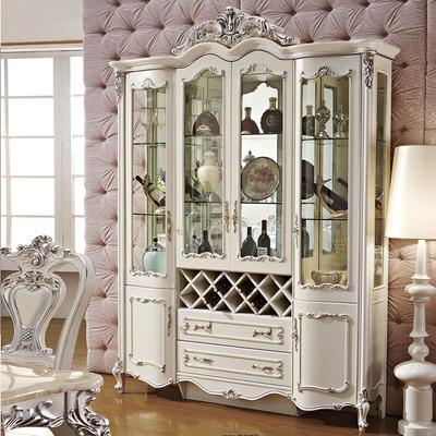 欧式酒柜白色法式四门酒柜客厅玻璃隔断柜深色装饰摆件大酒水柜价格