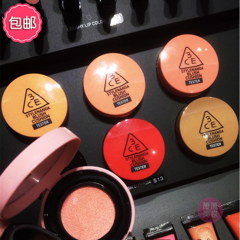 包邮韩国3ce果汁气垫腮红新品液体胭脂粉3EC橘色水润显色修颜提亮