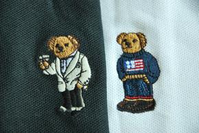 夏季新款 男装 珠地纯棉 小熊绣花 宽松 短袖POLO衫