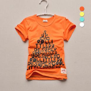 童装男童男孩小孩子2016新款 小童中大童橙色夏装儿童纯棉短袖T恤