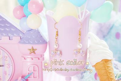 pink Sailor原創手作 甜美珍珠蝴蝶结耳环/耳夹