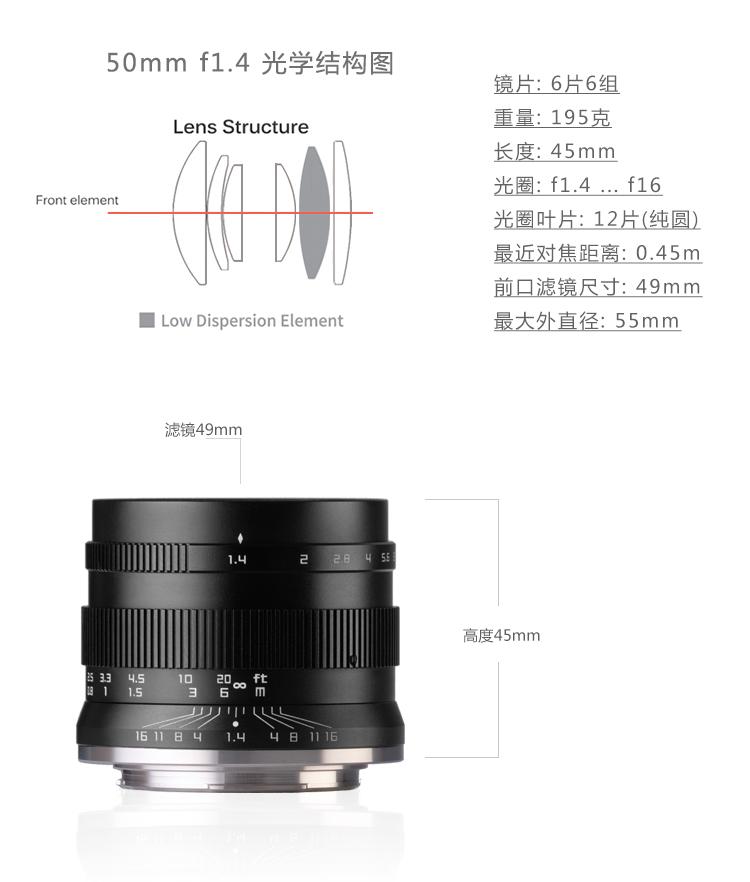 超大光圈中徠50 1.4微單人像鏡頭 佳能E卡口富士鬆下m43相機定焦