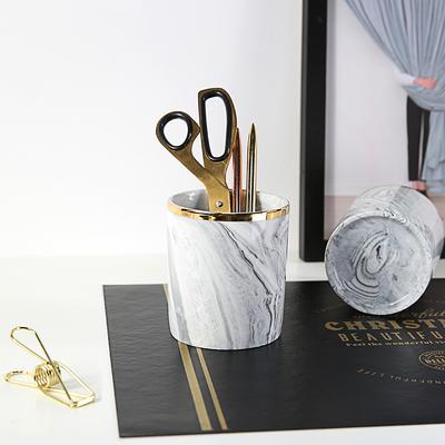 北欧软装ins陶瓷大理石纹笔筒金色牙刷杯金边化妆刷收纳筒花瓶
