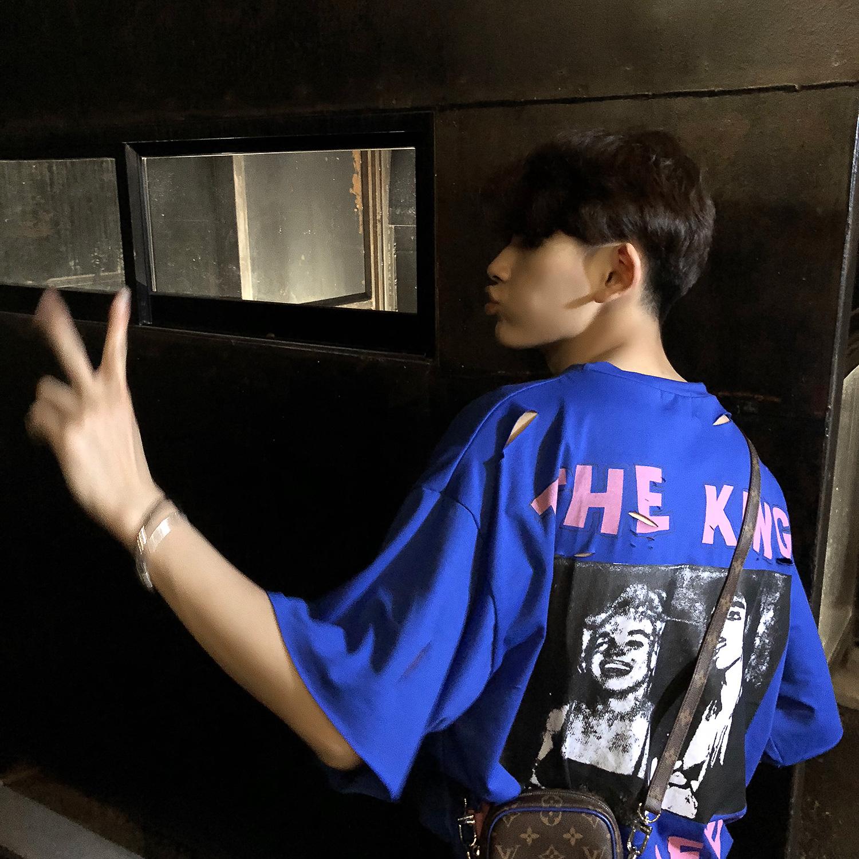潮牌原创设计日本街头磨破低像素印花短袖超宽松T恤男ins超火上衣