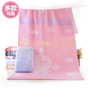 纯棉卡通三层纱布浴巾宝宝儿童洗澡毛巾被盖毯柔吸水厚实男女通用