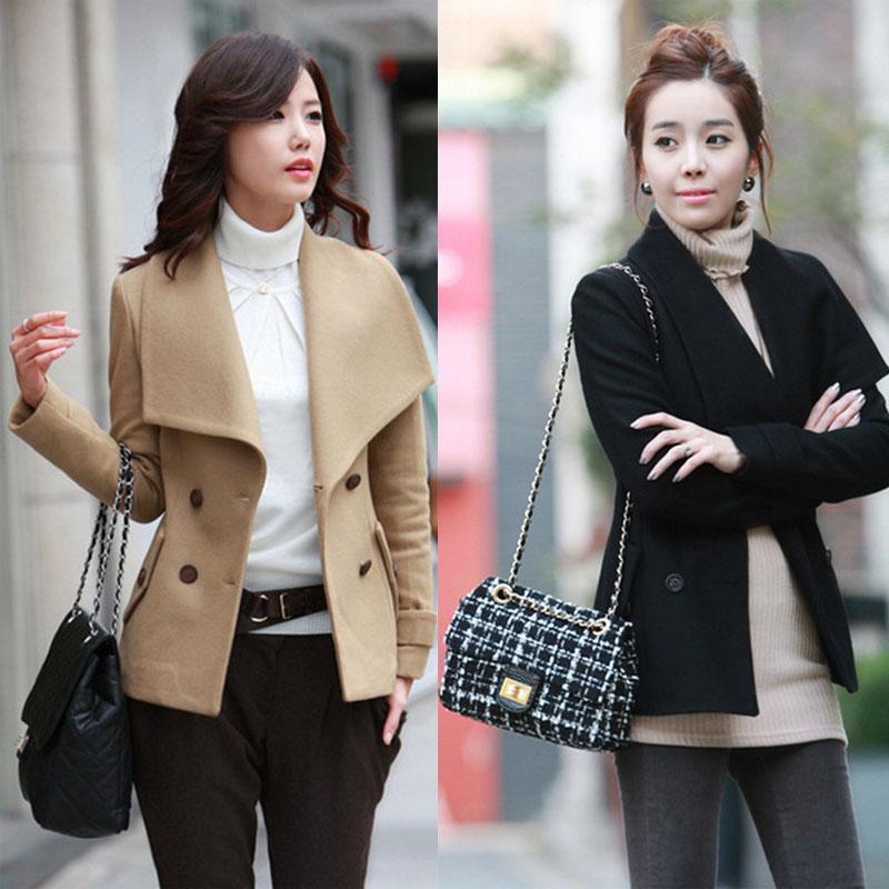 2014秋冬新款女装韩版潮时尚短款呢子大衣外套加厚毛呢外套