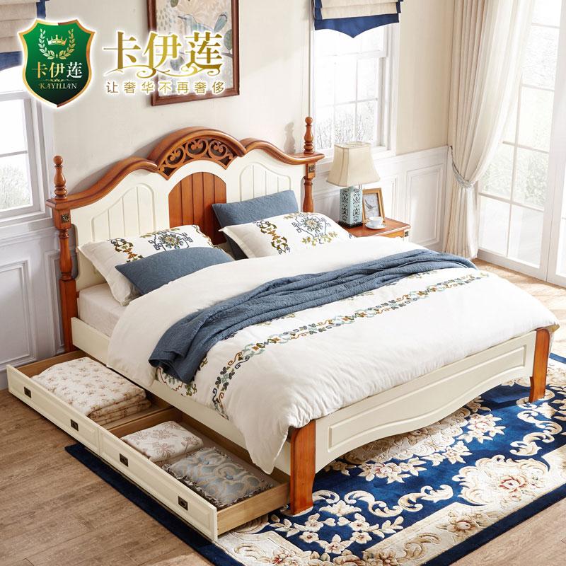 美式实木双人床 储物