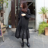 Spring and Autumn New Black Irregular Long Dress Long Skirt Women Loose Thin Lantern Sleeve Skirt