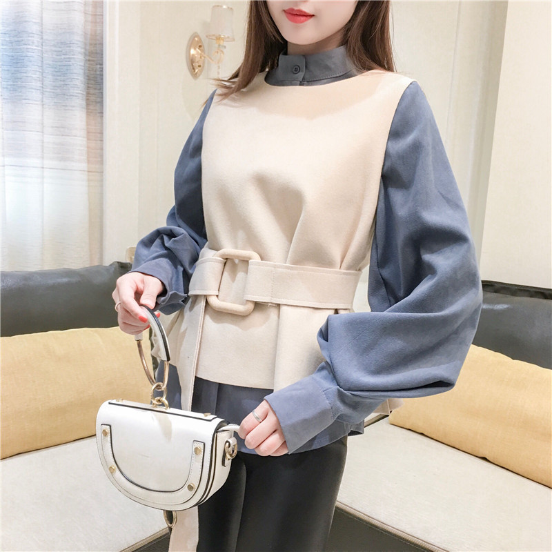 收腰衬衣女 设计感呢子背心两件套长袖 心机衬衫 chic上衣港味灯笼袖