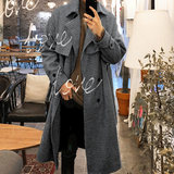 Bishe 2018 autumn and winter new tartan coat in the long section thick loose coat men with belt jacket tide