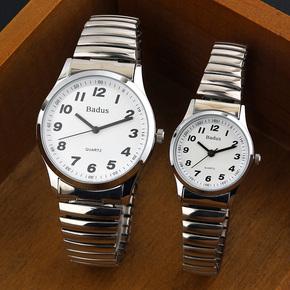 正品佰镀时钢带手表 大数字中老年人男女表 怀旧弹簧松紧表带女表