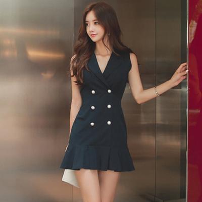 缺SM)816 2018韩版时尚修身连衣裙女神范职场白领OL气质OL裙子
