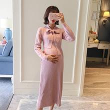 AROOM孕妇装春秋装连衣裙粉色领口系蝴蝶结针织长裙韩版气质时尚