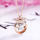 18k rose gold bred diamond 30 minutes smart princess crown diamond necklace collarbone chain color gold pendant genuine