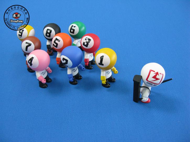 台球桌饰品公仔球房摆件小礼物纪念品环保搪胶台球创意小礼品