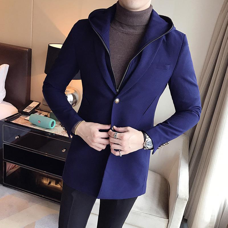 蓝紫色韩版风衣