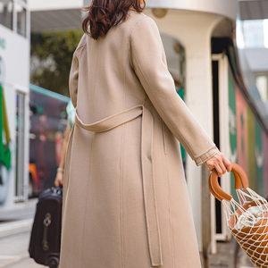 茵曼2018秋冬新款西装领一粒扣100%羊毛大衣双面毛呢外套女中长款