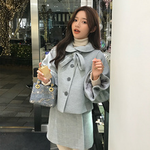 Shanshan overcoat new style autumn and winter 2018 doll collar net red design sensible foam sleeve wool jacket length and short style