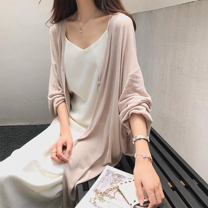 珊珊 2018夏季新款外披薄外套空调衫透气针织长短款防晒开衫多色