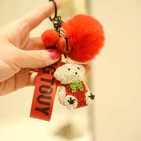 镶钻小熊蒙奇奇钥匙扣挂件可爱包扣钥匙链女汽车钥匙圈包包挂饰