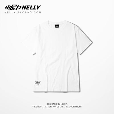 经典黑白基础款纯色短袖复古美式简单宽松短袖t恤韩版嘻哈潮男tee