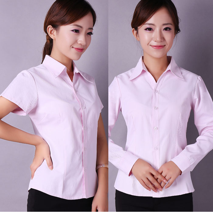 Professional shirt long-sleeved self-cultivation business and leisure OL interview uniforms white lining
