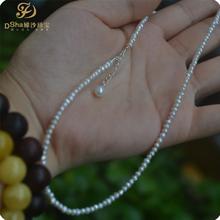 稀有迷你12mm近圆天然小珍珠项链锁骨链纯银珍珠吊坠好货不贵